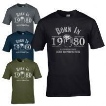 Born in 1980 T-Shirt - 40th Year Birthday Age Present Beer Funny Aged Mens Gift